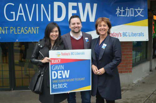 Dew campaigns with Christy Clark, Jan 18, 2016.